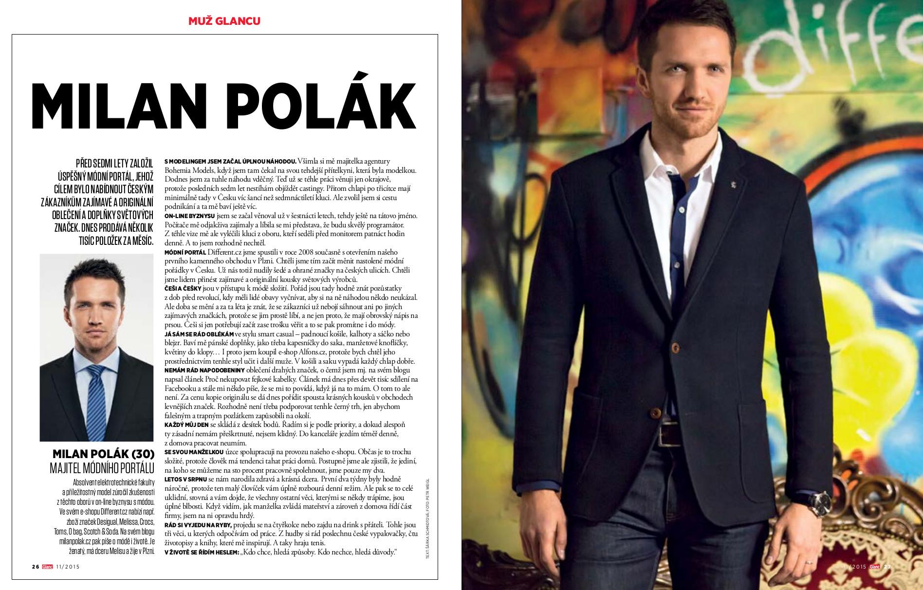 Muž Glancu pro měsíc listopad 2015 - Milan Polák